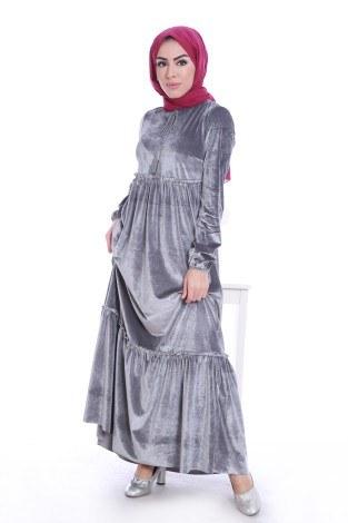 - Kadife Şık Elbise 6587-03