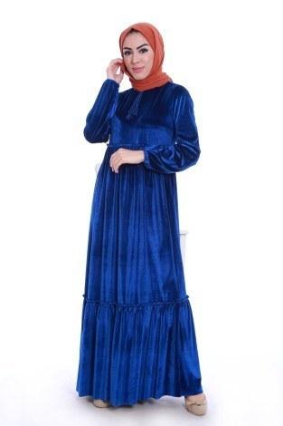- Kadife Şık Elbise 6587-04
