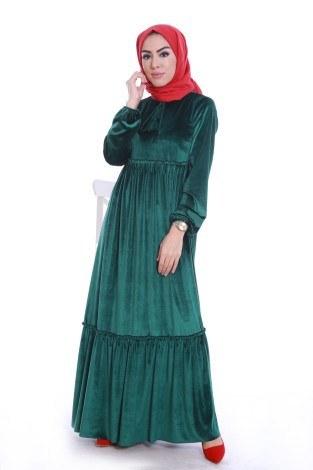 - Kadife Şık Elbise 6587-05