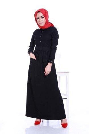 Kemerli Şık Tesettür Elbise 6540-01 - Thumbnail