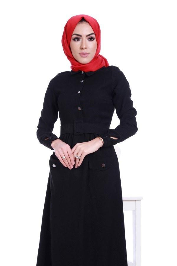 Kemerli Şık Tesettür Elbise 6540-01