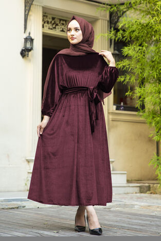 Kadife Yarasa Kol Elbise Bordo - Thumbnail