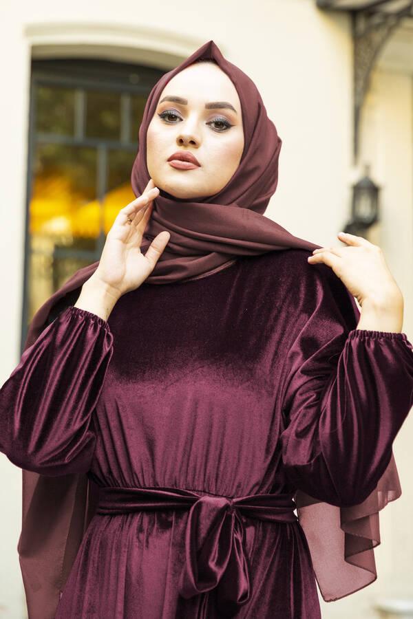 Kadife Yarasa Kol Elbise Bordo