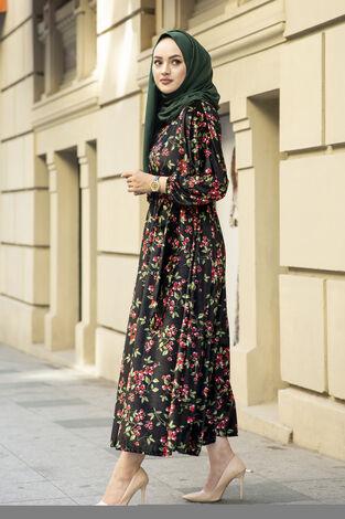 Çiçekli Kadife Yarasa Kol Elbise Desenli1 - Thumbnail