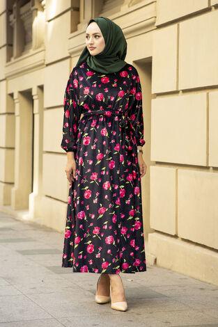 Çiçekli Kadife Yarasa Kol Elbise Desenli2 - Thumbnail