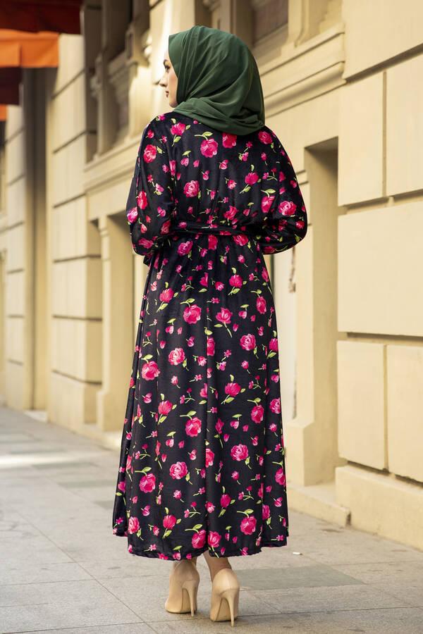 Çiçekli Kadife Yarasa Kol Elbise Desenli2