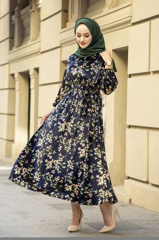 Çiçekli Kadife Yarasa Kol Elbise Desenli3 - Thumbnail