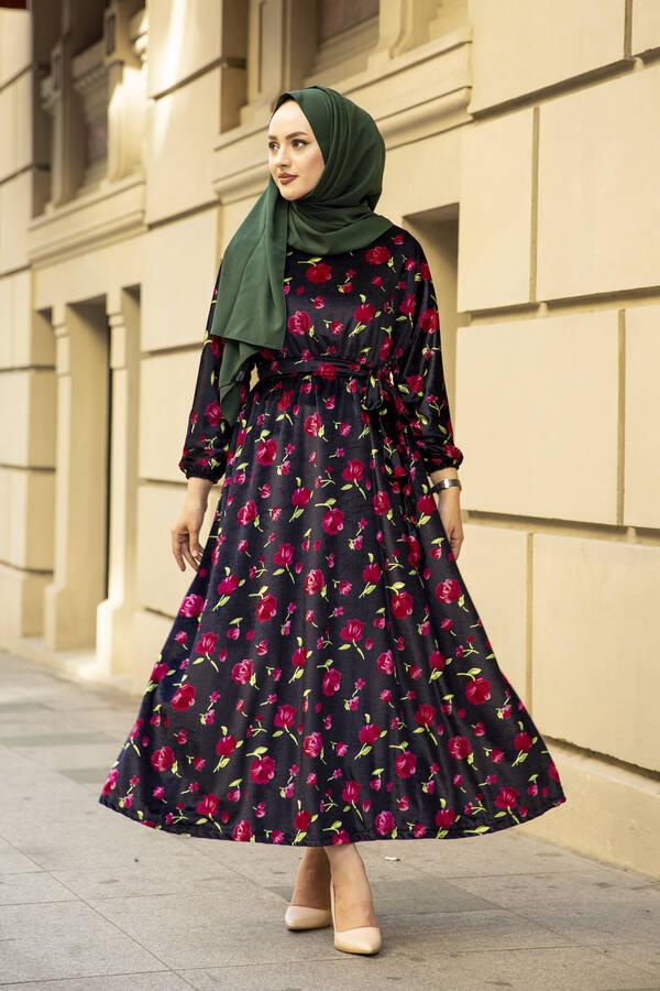 Çiçekli Kadife Yarasa Kol Elbise Desenli4