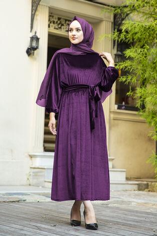 Kadife Yarasa Kol Elbise Mor - Thumbnail