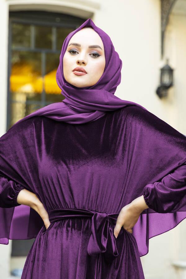 Kadife Yarasa Kol Elbise Mor