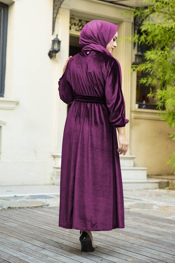 Kadife Yarasa Kol Elbise Mürdüm