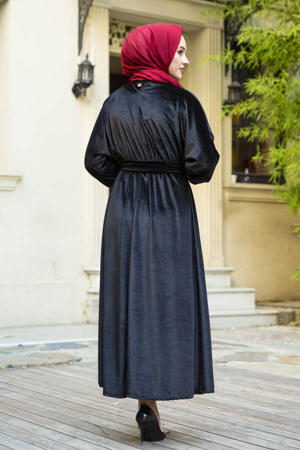 Kadife Yarasa Kol Elbise Siyah