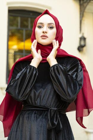 Kadife Yarasa Kol Elbise Siyah - Thumbnail