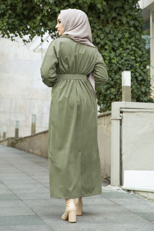 Kadife Fitilli Elbise 100MD10110 Çağla Yeşili - Thumbnail