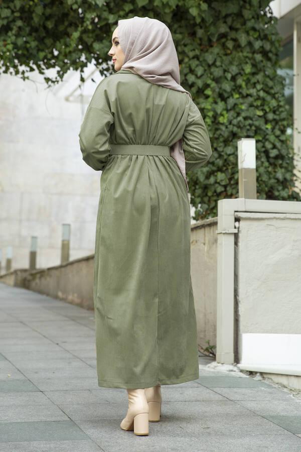 Kadife Fitilli Elbise 100MD10110 Çağla Yeşili