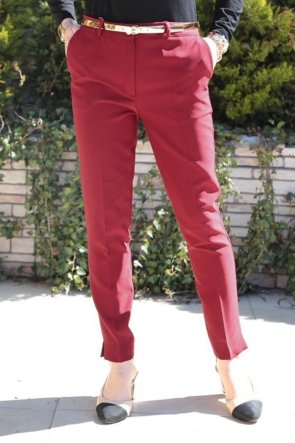 Bilek Pantalon 8316-9 Bordo