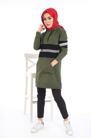 - İki Renkli Kanguru Cep Kapüşonlu Tunik TN4333-01
