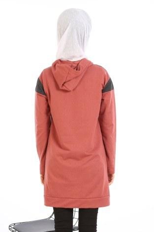 Kanguru Cep Kapüşonlu Üç Renkli Tunik 0469-06 - Thumbnail