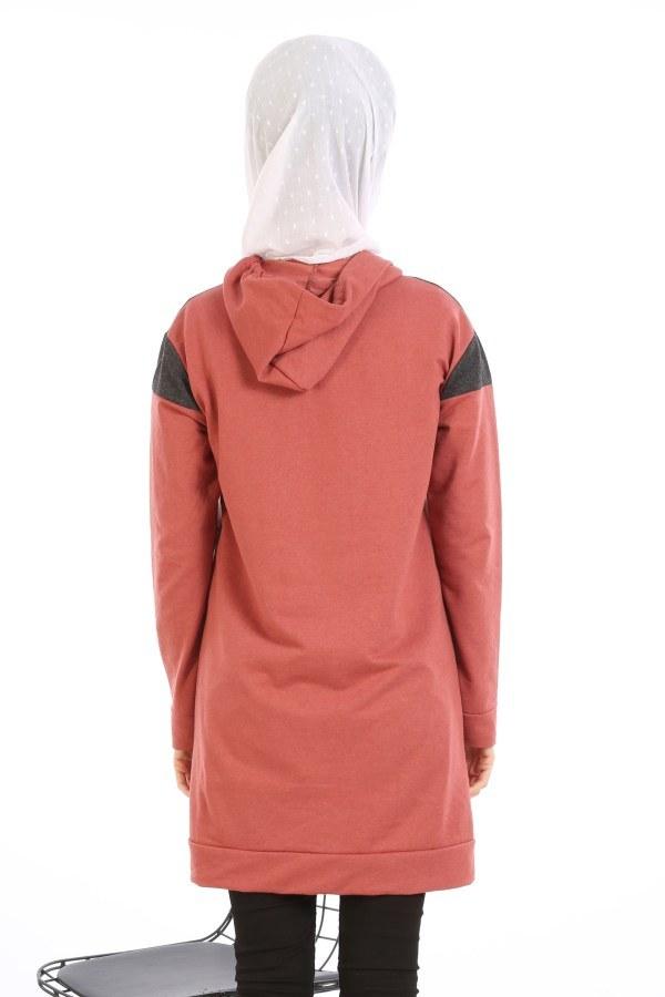 Kanguru Cep Kapüşonlu Üç Renkli Tunik 0469-06