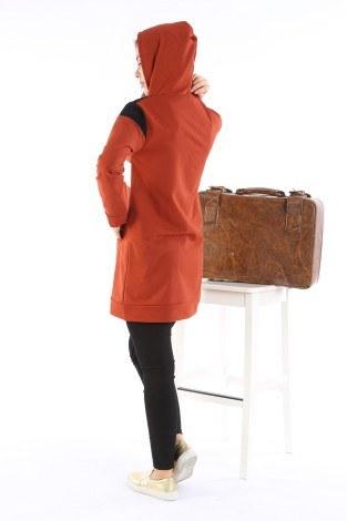 Kanguru Cep Kapüşonlu Üç Renkli Tunik 8851-07 - Thumbnail