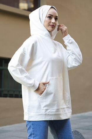 Kanguru Cepli Sweat 100MD10023 Beyaz - Thumbnail