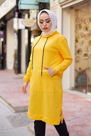 - Kanguru cepli tunik 62871-08 Sarı (1)