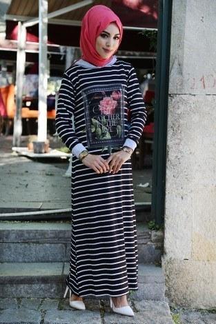 - Kapşonlu Çizgili Elbise 95162-2 Siyah