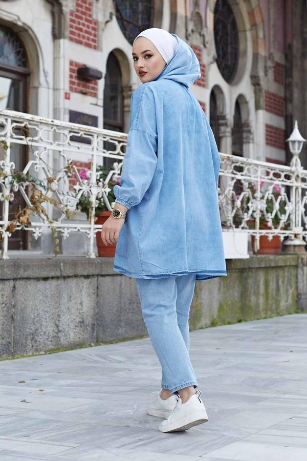 Kapşonlu Kot Ceket 160SAG4522 Mavi