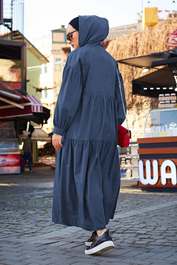 Kapşonlu Salaş Elbise 100MD-10302 İndigo
