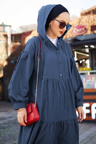 Kapşonlu Salaş Elbise 100MD-10302 İndigo - Thumbnail