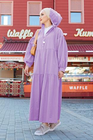 Kapşonlu Salaş Elbise 100MD-10302 Lila - Thumbnail