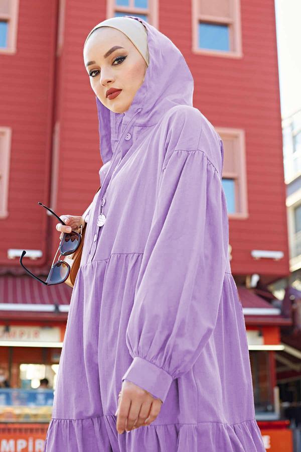 Kapşonlu Salaş Elbise 100MD-10302 Lila