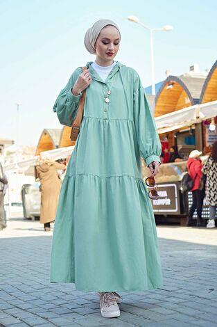 Kapşonlu Salaş Elbise 100MD-10302 Mint Yeşili - Thumbnail