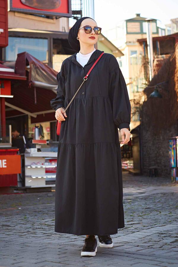 Kapşonlu Salaş Elbise 100MD-10302 Siyah