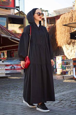 Kapşonlu Salaş Elbise 100MD-10302 Siyah - Thumbnail