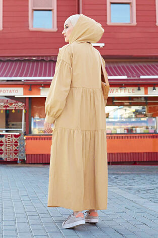 Kapşonlu Salaş Elbise 100MD-10302 Vizon - Thumbnail