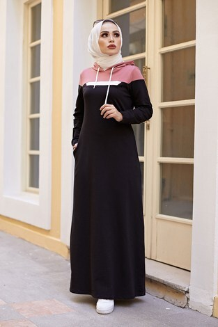 - Kapşonlu Spor Elbise 9348-1 SİYAH