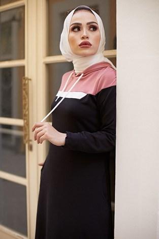 - Kapşonlu Spor Elbise 9348-1 SİYAH (1)