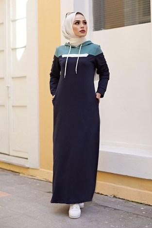 - Kapşonlu Spor Elbise 9348-2 LACİVERT