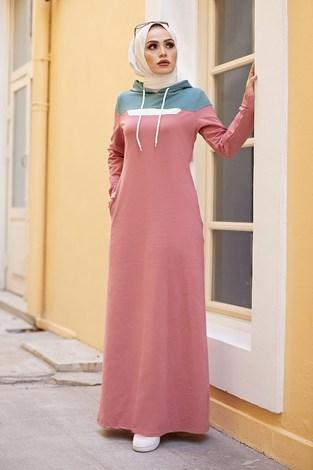 - Kapşonlu Spor Elbise 9348-4