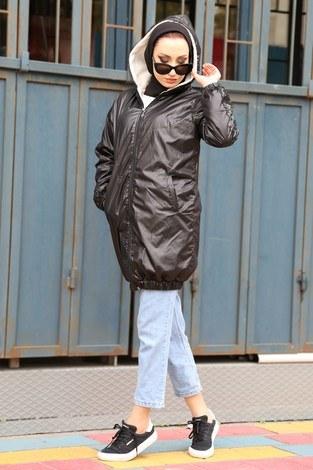 Pul Payet detaylı yağmurluk mont HBS8869-01 siyah - Thumbnail