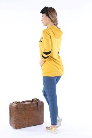 Kapüşonlu Baskılı İki Renkli Tunik 1926-02 - Thumbnail