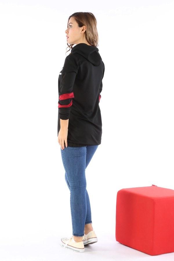 Kapüşonlu Baskılı İki Renkli Tunik 1926-01