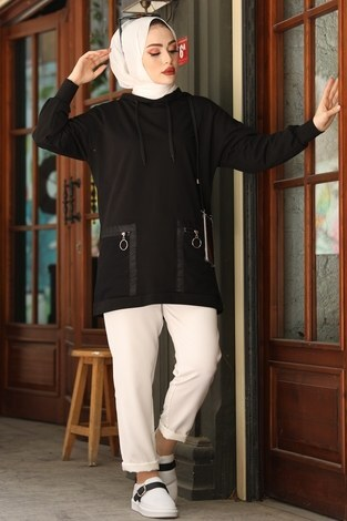 - Kapüşonlu Cepleri Fileli Sweat Tunik 2573-1 Siyah