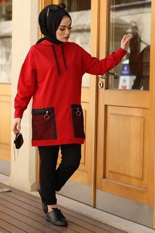 Kapüşonlu Cepleri Fileli Sweat Tunik 2573-2 Kırmızı - Thumbnail