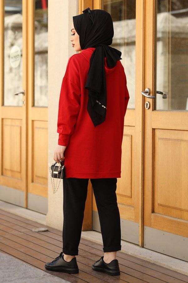 Kapüşonlu Cepleri Fileli Sweat Tunik 2573-2 Kırmızı