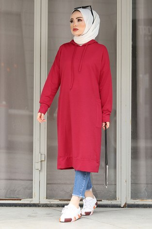 - Kapüşonlu Çift Cepleri Sweat Tunik 2289-5 Bordo