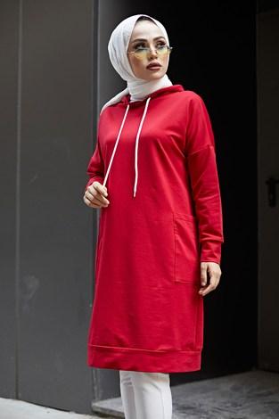 - Kapüşonlu Çift Cepleri Sweat Tunik 2289-5 Kırmızı (1)