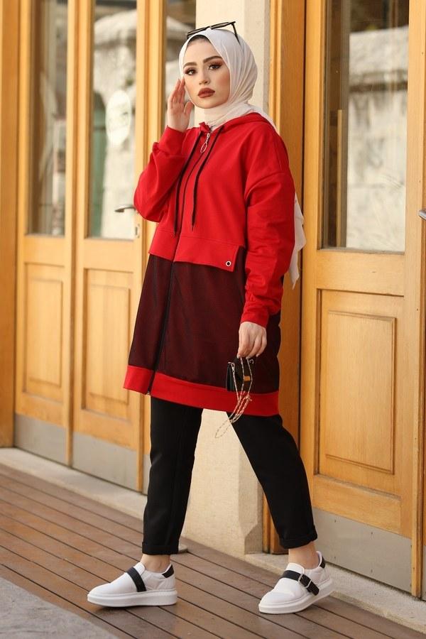 Kapüşonlu Fileli Sweat Tunik 2668-2 Kırmızı