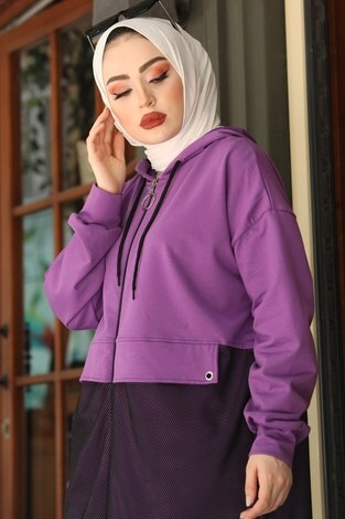 - Kapüşonlu Fileli Sweat Tunik 2668-3 Mor (1)